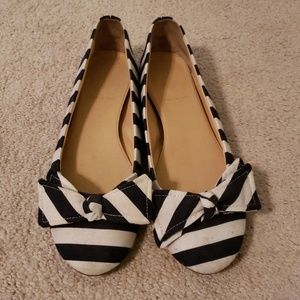 JCrew navy and white ballet flats